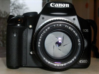 Canon EOS 450d mit Carl Zeiss Jena 1.4/50mm